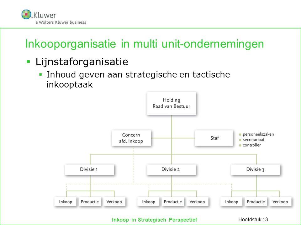 Inkoop in Strategisch Perspectief Inkooporganisatie in multi unit-ondernemingen  Lijnstaforganisatie  Inhoud geven aan strategische en tactische ink