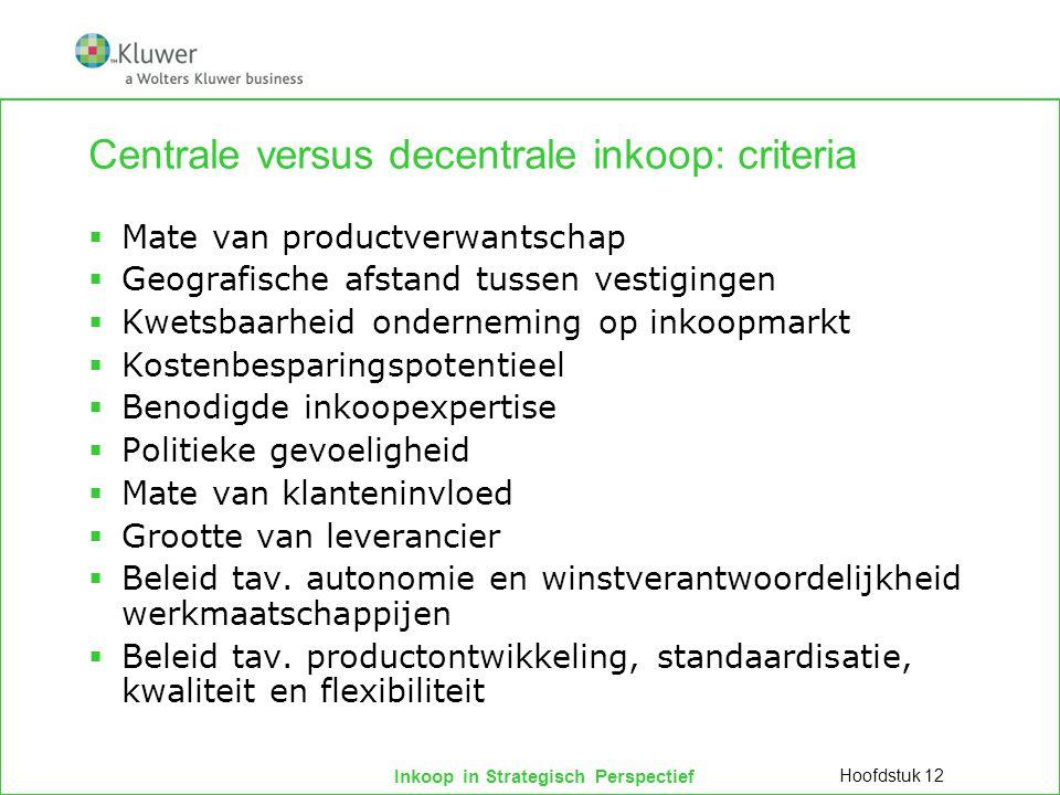 Inkoop in Strategisch Perspectief Centrale versus decentrale inkoop: criteria  Mate van productverwantschap  Geografische afstand tussen vestigingen