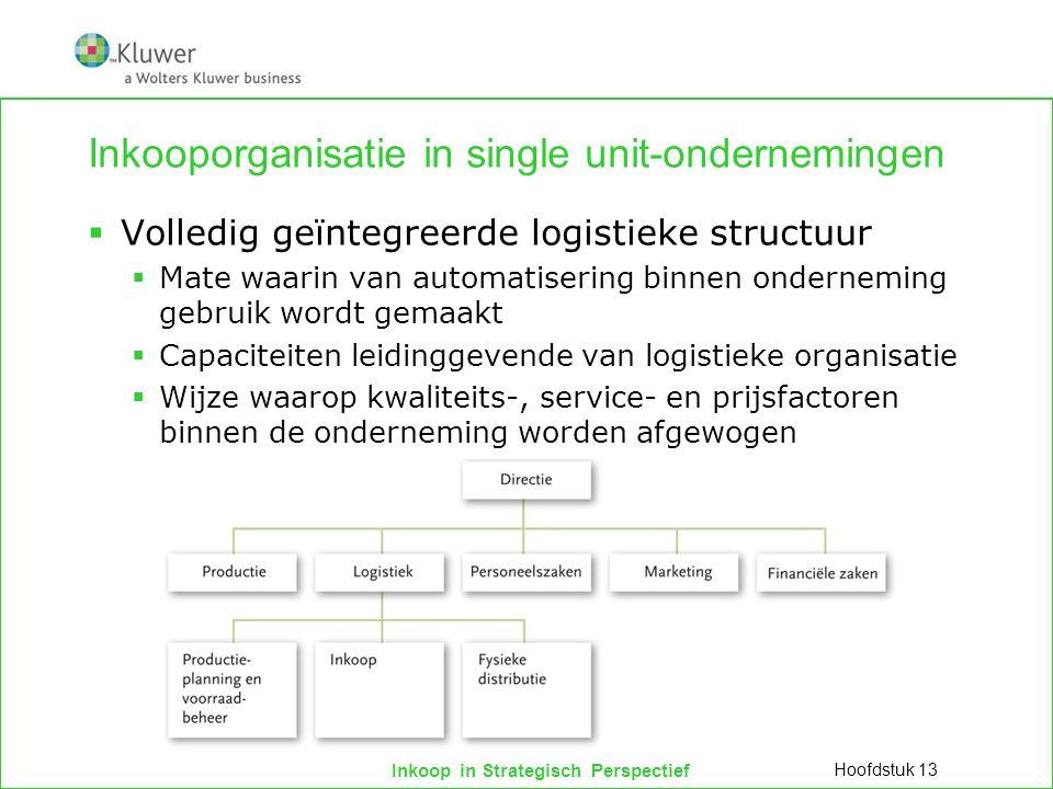 Inkoop in Strategisch Perspectief Inkooporganisatie in single unit-ondernemingen  Volledig geïntegreerde logistieke structuur  Mate waarin van autom