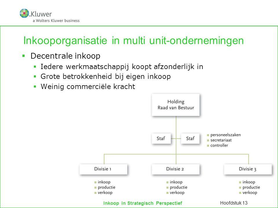 Inkoop in Strategisch Perspectief Inkooporganisatie in multi unit-ondernemingen  Centrale inkoop  Gecoördineerd, betere condities  Beperkte zeggenschap werkmaatschappijen Hoofdstuk 13