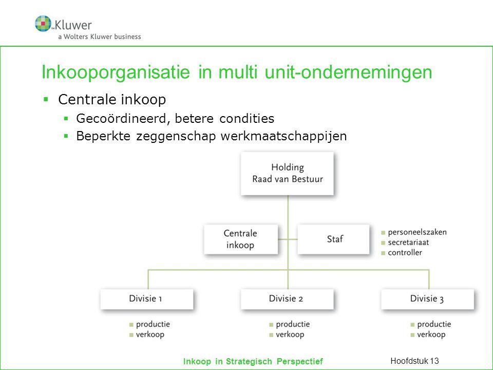 Inkoop in Strategisch Perspectief Inkooporganisatie in multi unit-ondernemingen  Lijnstaforganisatie  Inhoud geven aan strategische en tactische inkooptaak Hoofdstuk 13