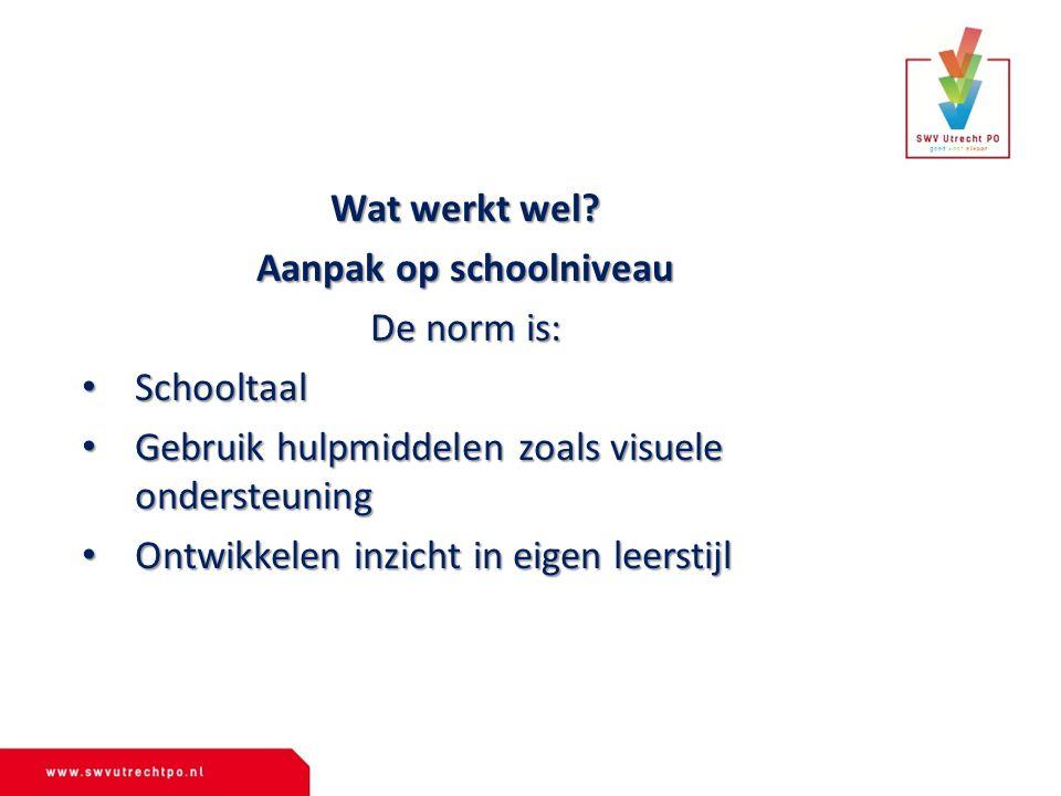 Wat werkt wel? Aanpak op schoolniveau De norm is: Schooltaal Schooltaal Gebruik hulpmiddelen zoals visuele ondersteuning Gebruik hulpmiddelen zoals vi