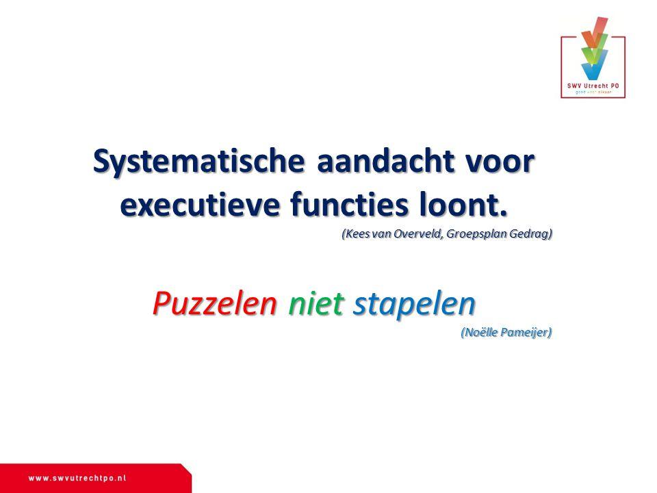 Systematische aandacht voor executieve functies loont. (Kees van Overveld, Groepsplan Gedrag) Puzzelen niet stapelen (Noëlle Pameijer)