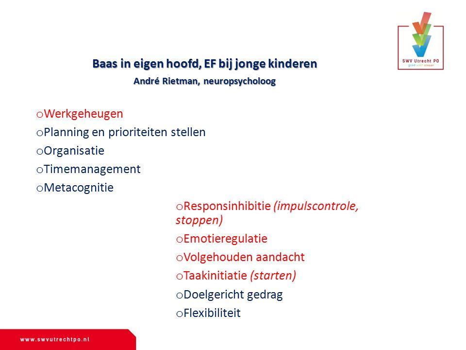 Baas in eigen hoofd, EF bij jonge kinderen André Rietman, neuropsycholoog o Werkgeheugen o Planning en prioriteiten stellen o Organisatie o Timemanage