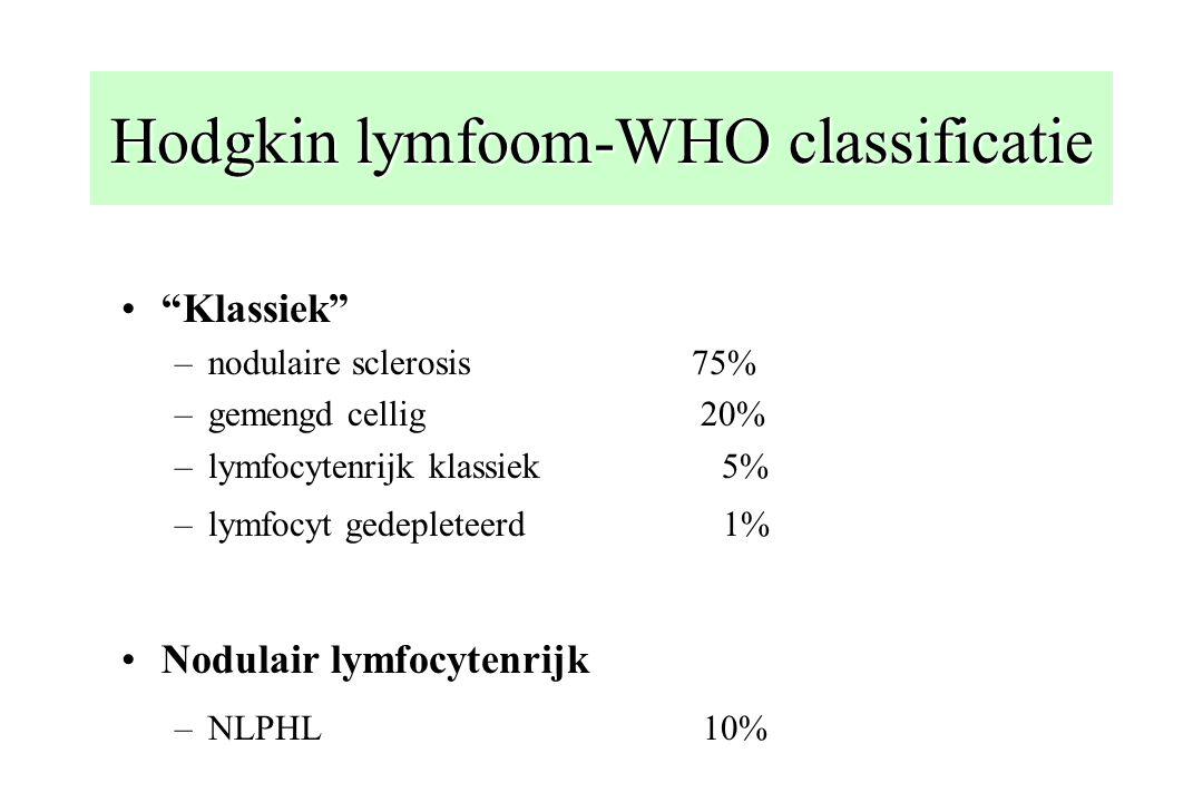 "Hodgkin lymfoom-WHO classificatie ""Klassiek"" –nodulaire sclerosis 75% –gemengd cellig 20% –lymfocytenrijk klassiek 5% –lymfocyt gedepleteerd 1% Nodula"