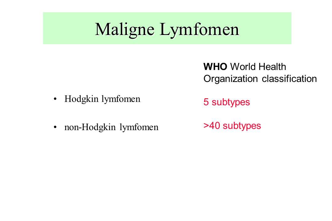 Maligne Lymfomen Hodgkin lymfomen non-Hodgkin lymfomen WHO World Health Organization classification 5 subtypes >40 subtypes