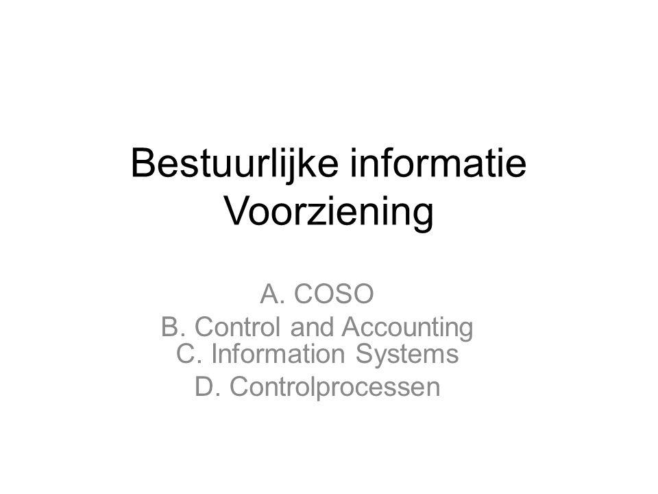 Bestuurlijke informatie Voorziening A. COSO B. Control and Accounting C. Information Systems D. Controlprocessen