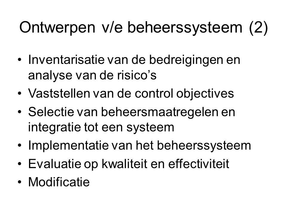 Ontwerpen v/e beheerssysteem (2) Inventarisatie van de bedreigingen en analyse van de risico's Vaststellen van de control objectives Selectie van behe