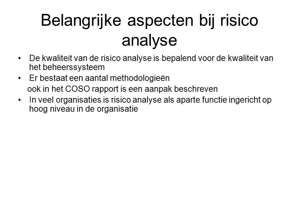 Belangrijke aspecten bij risico analyse De kwaliteit van de risico analyse is bepalend voor de kwaliteit van het beheerssysteem Er bestaat een aantal