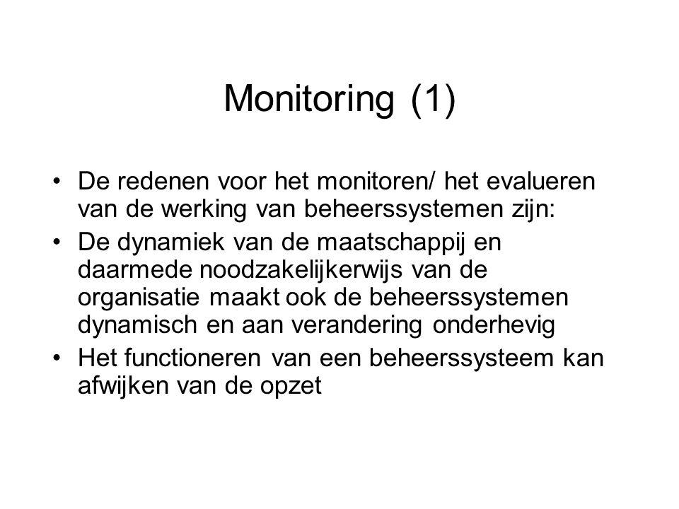 Monitoring (1) De redenen voor het monitoren/ het evalueren van de werking van beheerssystemen zijn: De dynamiek van de maatschappij en daarmede noodz