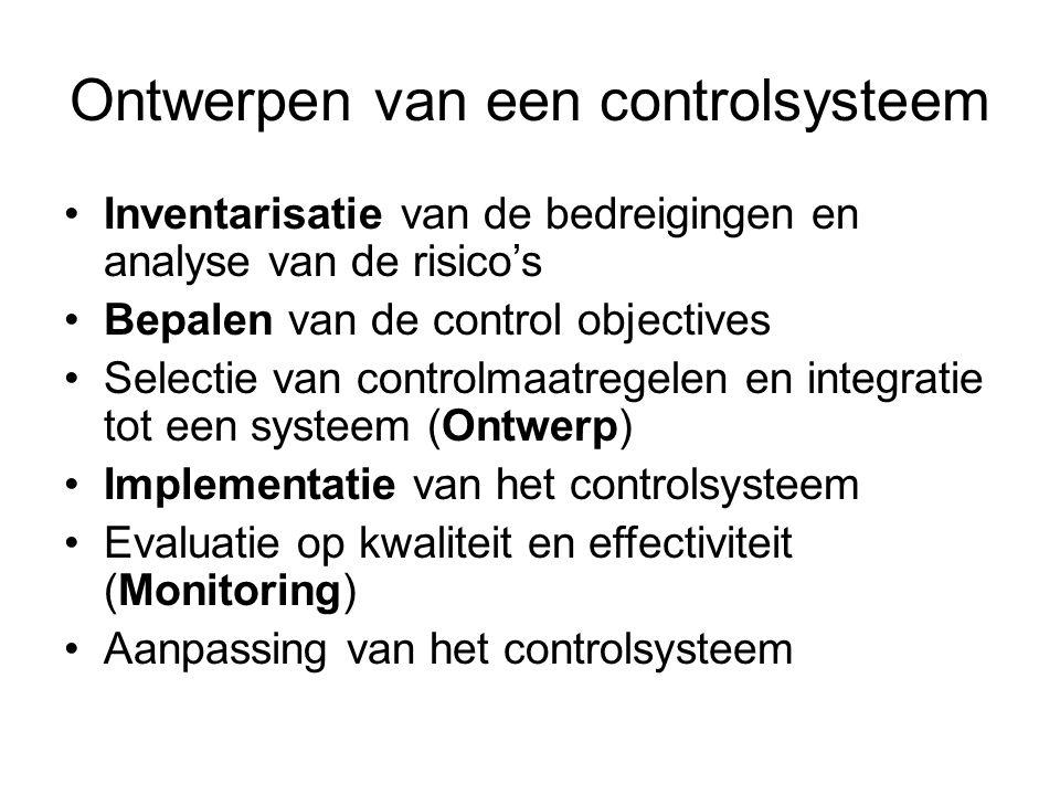 Ontwerpen van een controlsysteem Inventarisatie van de bedreigingen en analyse van de risico's Bepalen van de control objectives Selectie van controlm