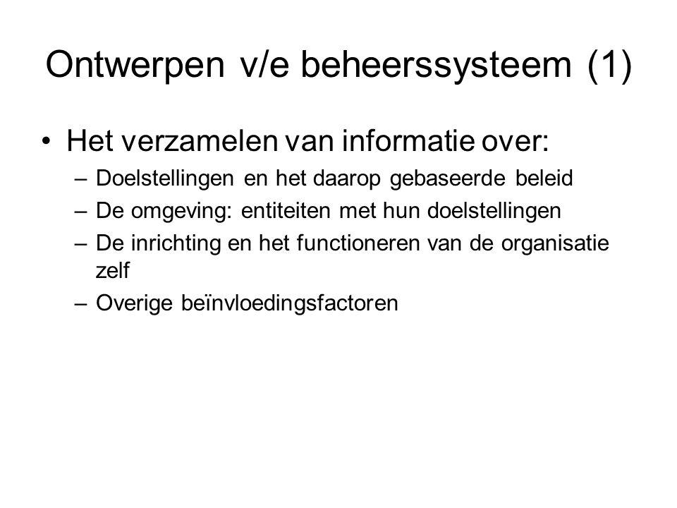 Ontwerpen v/e beheerssysteem (1) Het verzamelen van informatie over: –Doelstellingen en het daarop gebaseerde beleid –De omgeving: entiteiten met hun