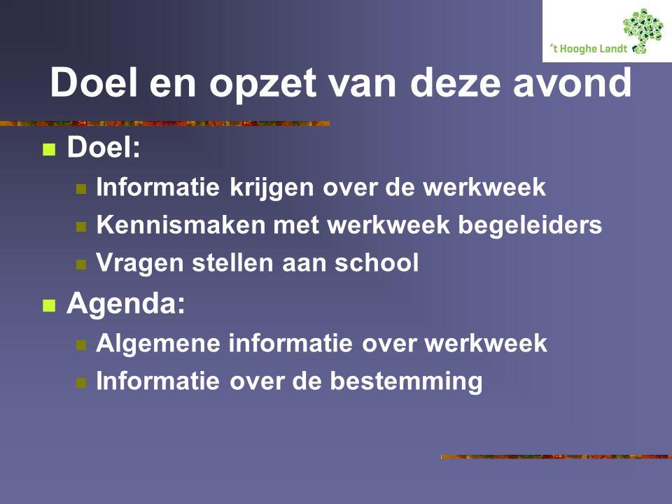 Doel en opzet van deze avond Doel: Informatie krijgen over de werkweek Kennismaken met werkweek begeleiders Vragen stellen aan school Agenda: Algemene informatie over werkweek Informatie over de bestemming