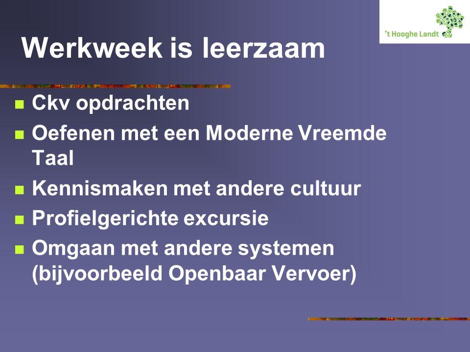 Werkweek is leerzaam Ckv opdrachten Oefenen met een Moderne Vreemde Taal Kennismaken met andere cultuur Profielgerichte excursie Omgaan met andere systemen (bijvoorbeeld Openbaar Vervoer)