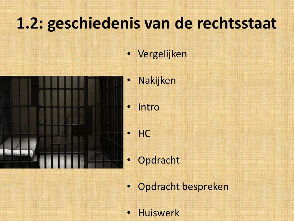 1.2: geschiedenis van de rechtsstaat Vergelijken Nakijken Intro HC Opdracht Opdracht bespreken Huiswerk