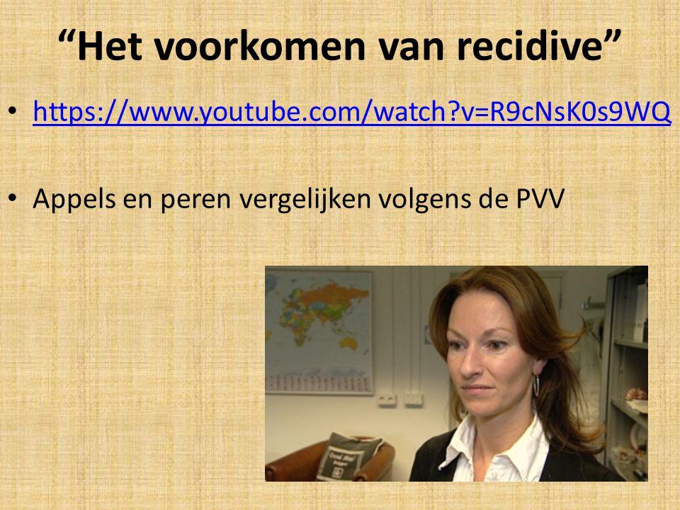 Het voorkomen van recidive https://www.youtube.com/watch?v=R9cNsK0s9WQ Appels en peren vergelijken volgens de PVV