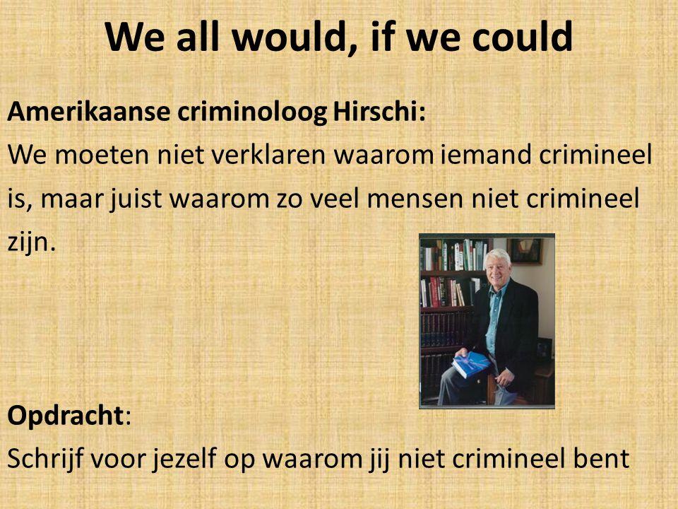 We all would, if we could Amerikaanse criminoloog Hirschi: We moeten niet verklaren waarom iemand crimineel is, maar juist waarom zo veel mensen niet crimineel zijn.