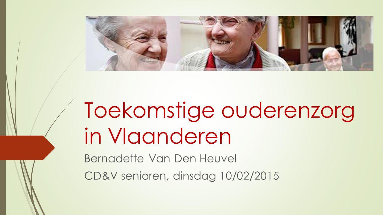 Toenemende vraag naar langdurige zorg  27,2% van de Belgische bevolking lijdt aan minstens één chronische ziekte  Het risico op een chronische aandoening stijgt met de leeftijd  Ook de prevalentie van multimorbiditeit, neemt toe met het ouder worden  10 tot 20% van de 40-jarigen lijdt aan minstens twee chronische aandoeningen, bij de personen van 70 jaar en ouder stijgt dat aantal tot 50 à 70%  Binnen de chronische ziektes vormen de psychiatrische aandoeningen een belangrijk en alsmaar groeiend aandeel