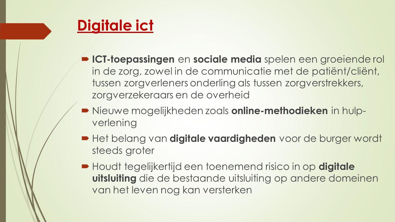 Digitale ict  ICT-toepassingen en sociale media spelen een groeiende rol in de zorg, zowel in de communicatie met de patiënt/cliënt, tussen zorgverleners onderling als tussen zorgverstrekkers, zorgverzekeraars en de overheid  Nieuwe mogelijkheden zoals online-methodieken in hulp- verlening  Het belang van digitale vaardigheden voor de burger wordt steeds groter  Houdt tegelijkertijd een toenemend risico in op digitale uitsluiting die de bestaande uitsluiting op andere domeinen van het leven nog kan versterken