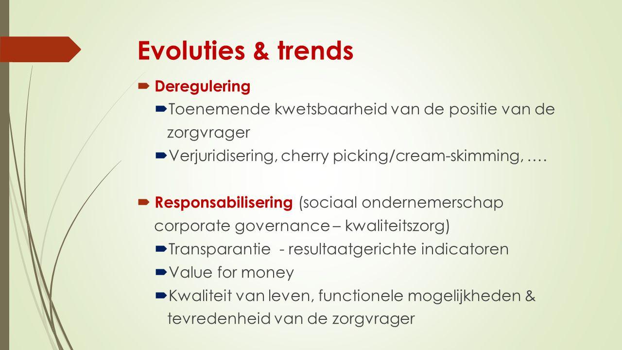 Evoluties & trends  Deregulering  Toenemende kwetsbaarheid van de positie van de zorgvrager  Verjuridisering, cherry picking/cream-skimming, ….