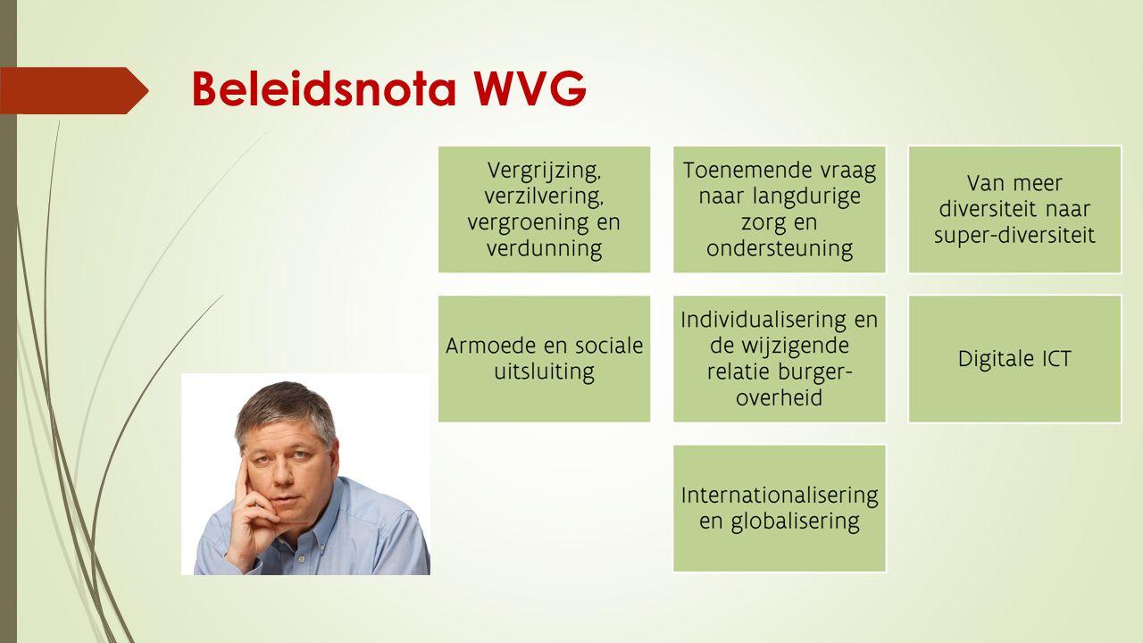  Geen aangroei gezinszorg ---) wel taakuitzuivering  Aangroei woongelegenheden woonzorgcentrum en centra voor kortverblijf: 1.500  2,1 mio besparing in woonzorgcentra (op werkingskost --) net zoals op alle welzijns- en gezondheidsvoorzieningen in Vlaanderen) Begroting 2015