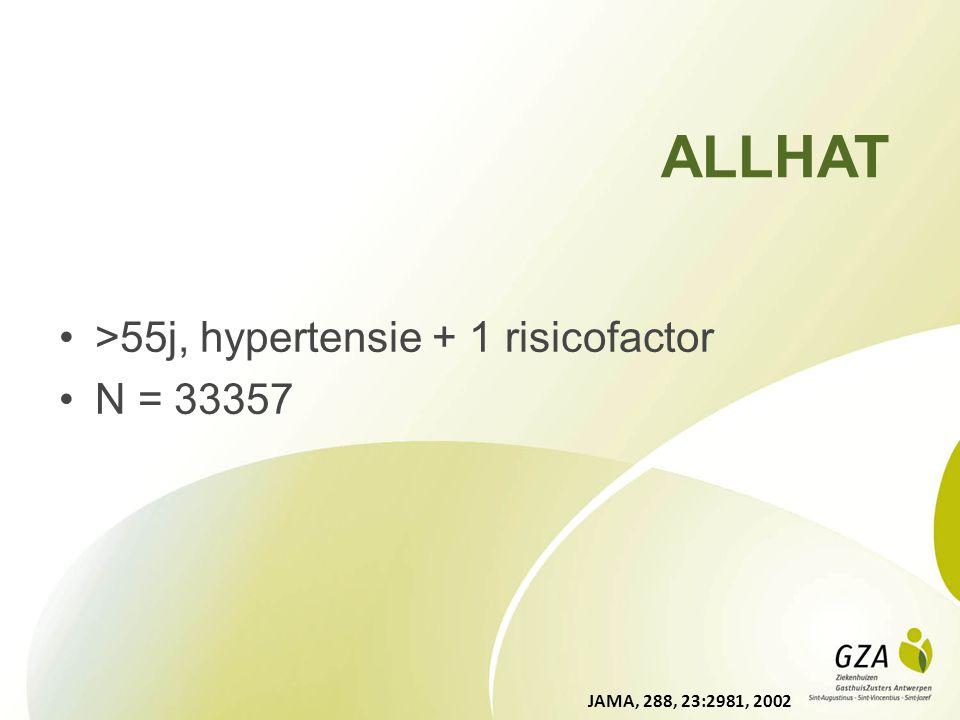 >55j, hypertensie + 1 risicofactor N = 33357 ALLHAT JAMA, 288, 23:2981, 2002