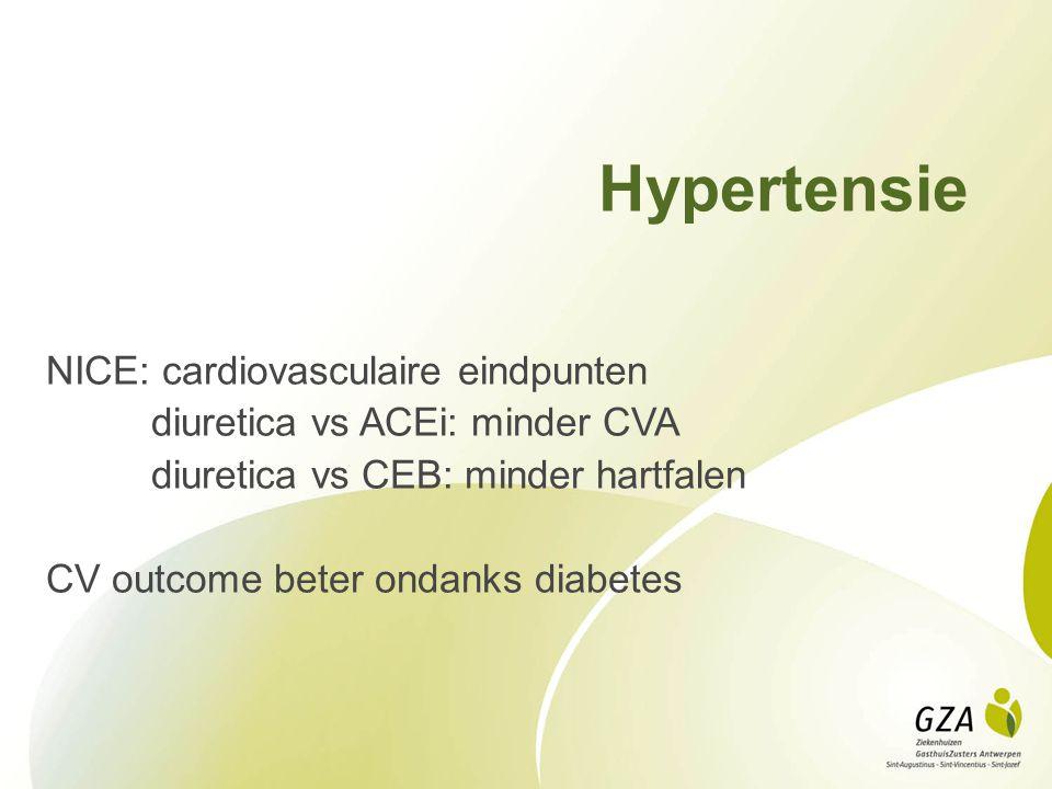 Hypertensie NICE: cardiovasculaire eindpunten diuretica vs ACEi: minder CVA diuretica vs CEB: minder hartfalen CV outcome beter ondanks diabetes