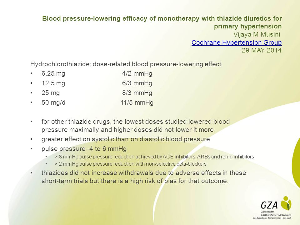 Blood pressure-lowering efficacy of monotherapy with thiazide diuretics for primary hypertension Vijaya M Musini Cochrane Hypertension Group 29 MAY 20