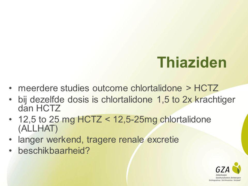 Thiaziden meerdere studies outcome chlortalidone > HCTZ bij dezelfde dosis is chlortalidone 1,5 to 2x krachtiger dan HCTZ 12,5 to 25 mg HCTZ < 12,5-25mg chlortalidone (ALLHAT) langer werkend, tragere renale excretie beschikbaarheid?