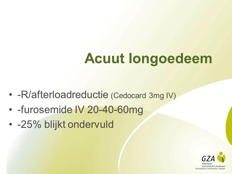 Acuut longoedeem -R/afterloadreductie (Cedocard 3mg IV) -furosemide IV 20-40-60mg -25% blijkt ondervuld