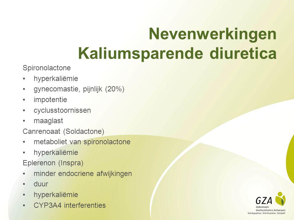 Nevenwerkingen Kaliumsparende diuretica Spironolactone hyperkaliëmie gynecomastie, pijnlijk (20%) impotentie cyclusstoornissen maaglast Canrenoaat (Soldactone) metaboliet van spironolactone hyperkaliëmie Eplerenon (Inspra) minder endocriene afwijkingen duur hyperkaliëmie CYP3A4 interferenties