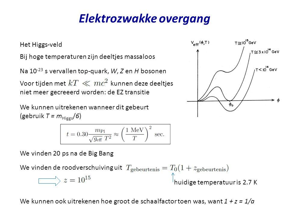 Elektrozwakke overgang Het Higgs-veld Bij hoge temperaturen zijn deeltjes massaloos Na 10 -23 s vervallen top-quark, W, Z en H bosonen We kunnen uitrekenen wanneer dit gebeurt (gebruik T = m Higgs /6) We vinden 20 ps na de Big Bang We vinden de roodverschuiving uit We kunnen ook uitrekenen hoe groot de schaalfactor toen was, want 1 + z = 1/a Voor tijden met kunnen deze deeltjes niet meer gecreeerd worden: de EZ transitie huidige temperatuur is 2.7 K