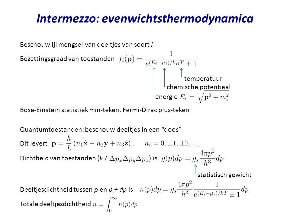 Intermezzo: thermodynamica Thermodynamische parameters: bijvoorbeeld temperatuur, druk, volume, interne energie, entropie, enthalpie Niet onafhankelijk van elkaar: dimensie van de toestandsruimte (bijvoorbeeld D = 2) In tegenstelling tot procesvariabelen, zoals warmte en mechanische arbeid Thermodynamische toestand en de waarde van toestandsvariabelen: hangen enkel van de huidige toestand af en niet van de historie Voorbeeld: mono-atomisch gas We dienen het pad te kennen: arbeid is een procesvariabele Stel dat we geinteresseerd zijn in de som van arbeid (PdV) en VdP Volg een pad in de toestandsruimte en meet P(t) en V(t) De arbeid is dan We hoeven de functie P(t)V(t) en op de begin- en eindtoestand te kennen.