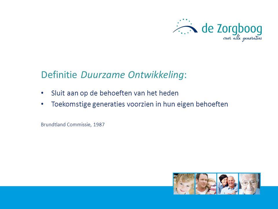 Definitie Duurzame Ontwikkeling: Sluit aan op de behoeften van het heden Toekomstige generaties voorzien in hun eigen behoeften Brundtland Commissie, 1987