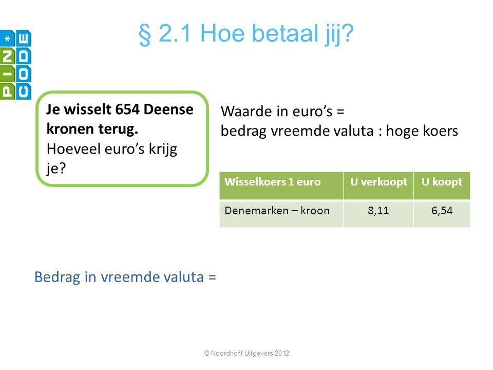 Bedrag in vreemde valuta = © Noordhoff Uitgevers 2012 § 2.1 Hoe betaal jij? Je wisselt 654 Deense kronen terug. Hoeveel euro's krijg je? Wisselkoers 1