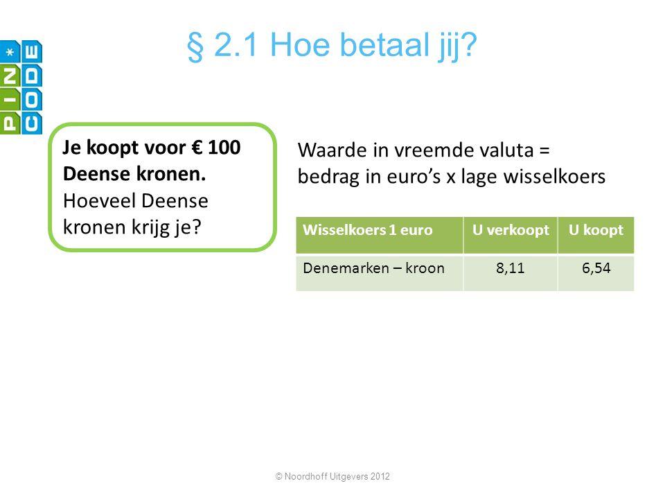 Je koopt voor € 100 Deense kronen. Hoeveel Deense kronen krijg je? Waarde in vreemde valuta = bedrag in euro's x lage wisselkoers Wisselkoers 1 euroU