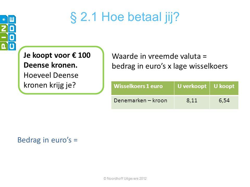 Je koopt voor € 100 Deense kronen. Hoeveel Deense kronen krijg je? Waarde in vreemde valuta = bedrag in euro's x lage wisselkoers Bedrag in euro's = ©