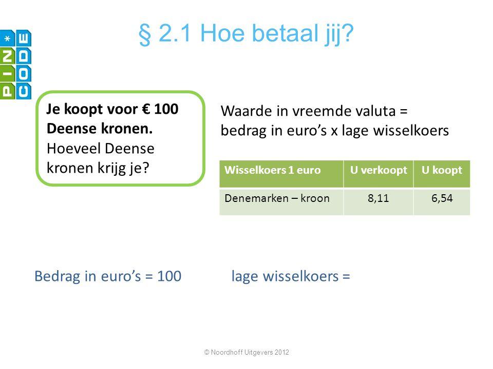 Je koopt voor € 100 Deense kronen. Hoeveel Deense kronen krijg je? Waarde in vreemde valuta = bedrag in euro's x lage wisselkoers Bedrag in euro's = 1