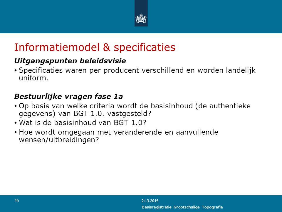 15 Informatiemodel & specificaties Uitgangspunten beleidsvisie Specificaties waren per producent verschillend en worden landelijk uniform. Bestuurlijk