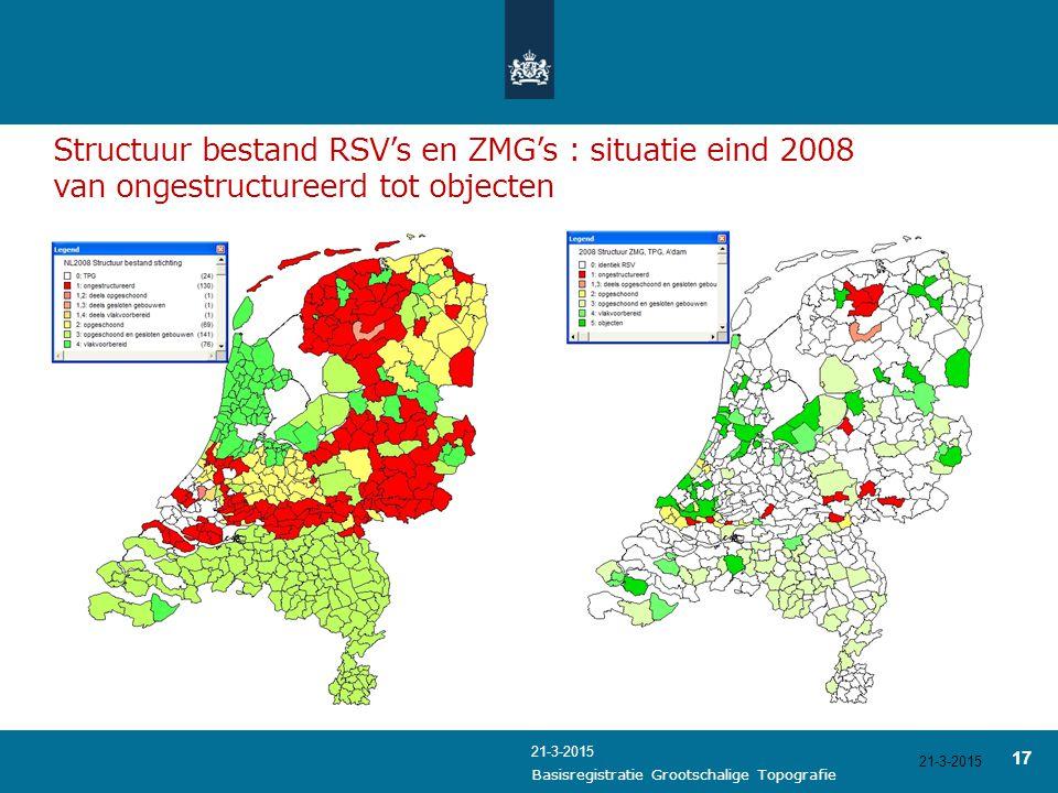 21-3-2015 17 21-3-2015 Basisregistratie Grootschalige Topografie Structuur bestand RSV's en ZMG's : situatie eind 2008 van ongestructureerd tot object
