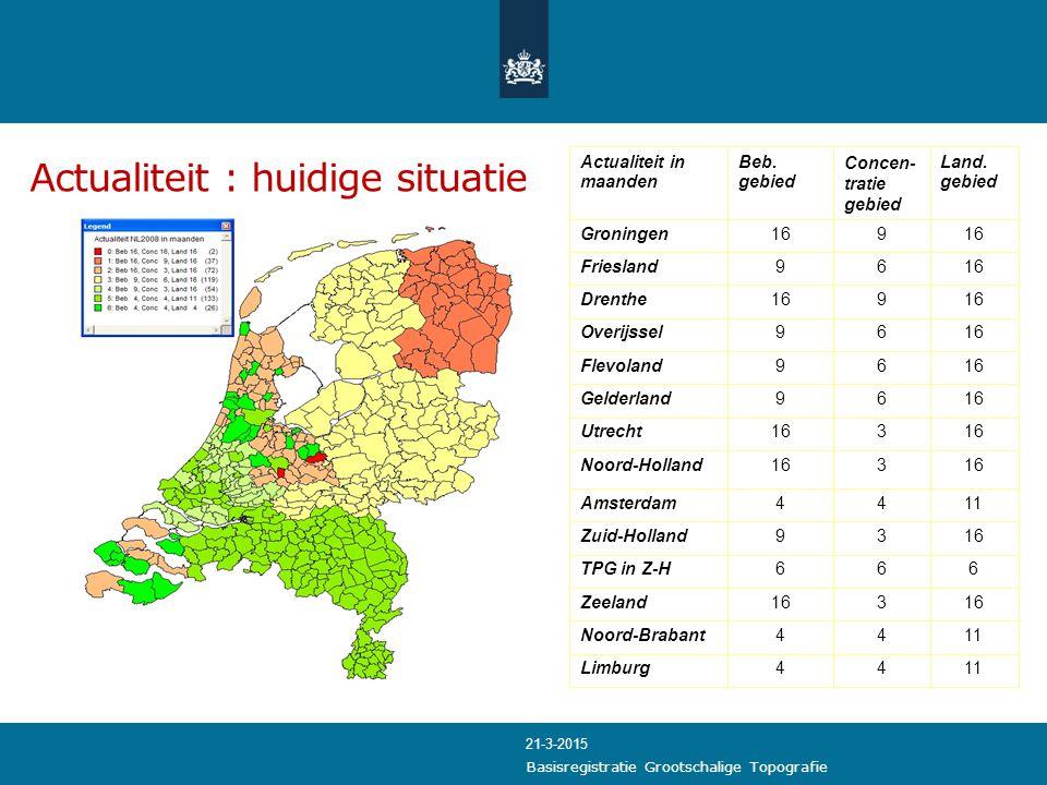 Actualiteit : huidige situatie 666TPG in Z-H 1144Amsterdam Actualiteit in maanden Beb. gebied Concen- tratie gebied Land. gebied Groningen169 Frieslan