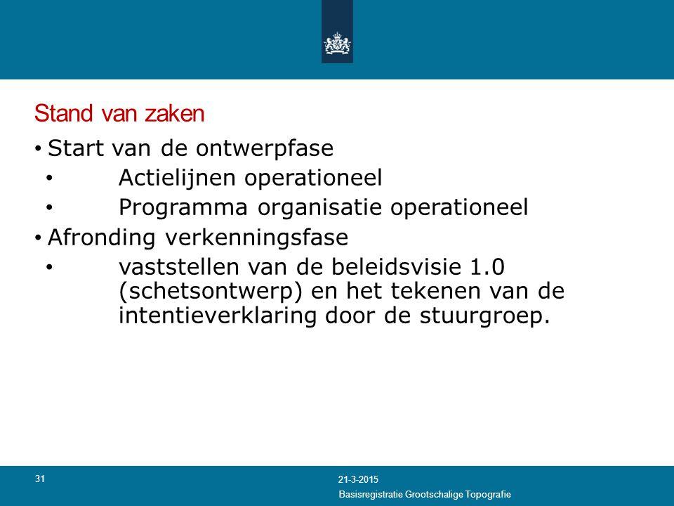Stand van zaken Start van de ontwerpfase Actielijnen operationeel Programma organisatie operationeel Afronding verkenningsfase vaststellen van de bele