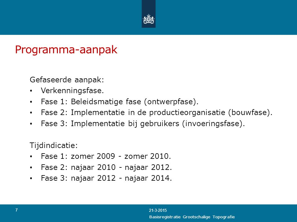 Programma-aanpak Gefaseerde aanpak: Verkenningsfase. Fase 1: Beleidsmatige fase (ontwerpfase). Fase 2: Implementatie in de productieorganisatie (bouwf