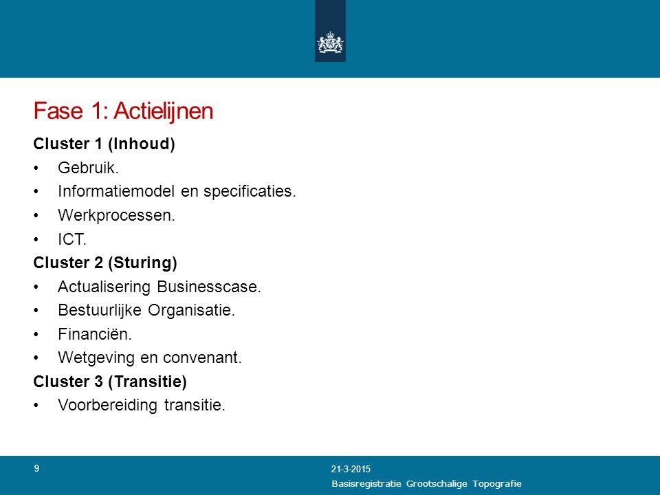 Fase 1: Actielijnen Cluster 1 (Inhoud) Gebruik. Informatiemodel en specificaties. Werkprocessen. ICT. Cluster 2 (Sturing) Actualisering Businesscase.