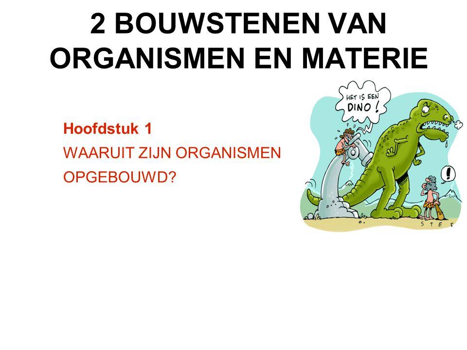 Hoofdstuk 1 WAARUIT ZIJN ORGANISMEN OPGEBOUWD? 2 BOUWSTENEN VAN ORGANISMEN EN MATERIE