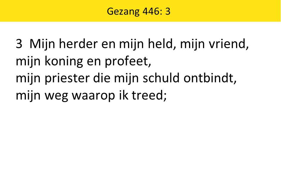 Gezang 446: 3 3 Mijn herder en mijn held, mijn vriend, mijn koning en profeet, mijn priester die mijn schuld ontbindt, mijn weg waarop ik treed;