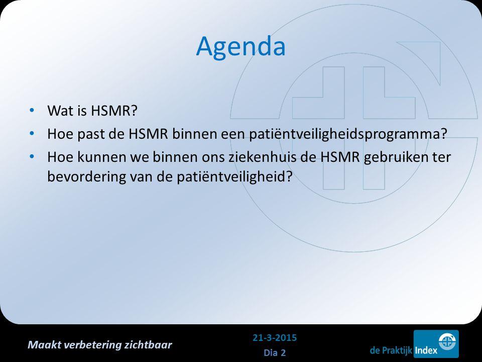 Maakt verbetering zichtbaar Agenda Wat is HSMR? Hoe past de HSMR binnen een patiëntveiligheidsprogramma? Hoe kunnen we binnen ons ziekenhuis de HSMR g