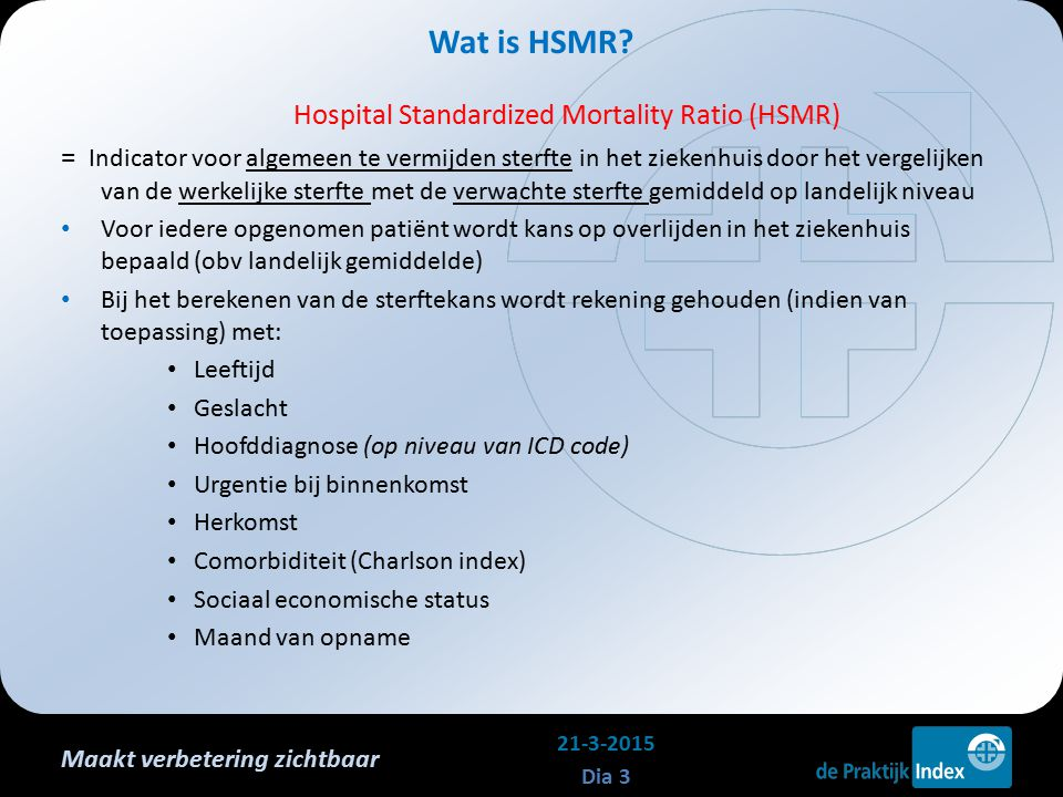 Maakt verbetering zichtbaar Hospital Standardized Mortality Ratio (HSMR) = Indicator voor algemeen te vermijden sterfte in het ziekenhuis door het ver