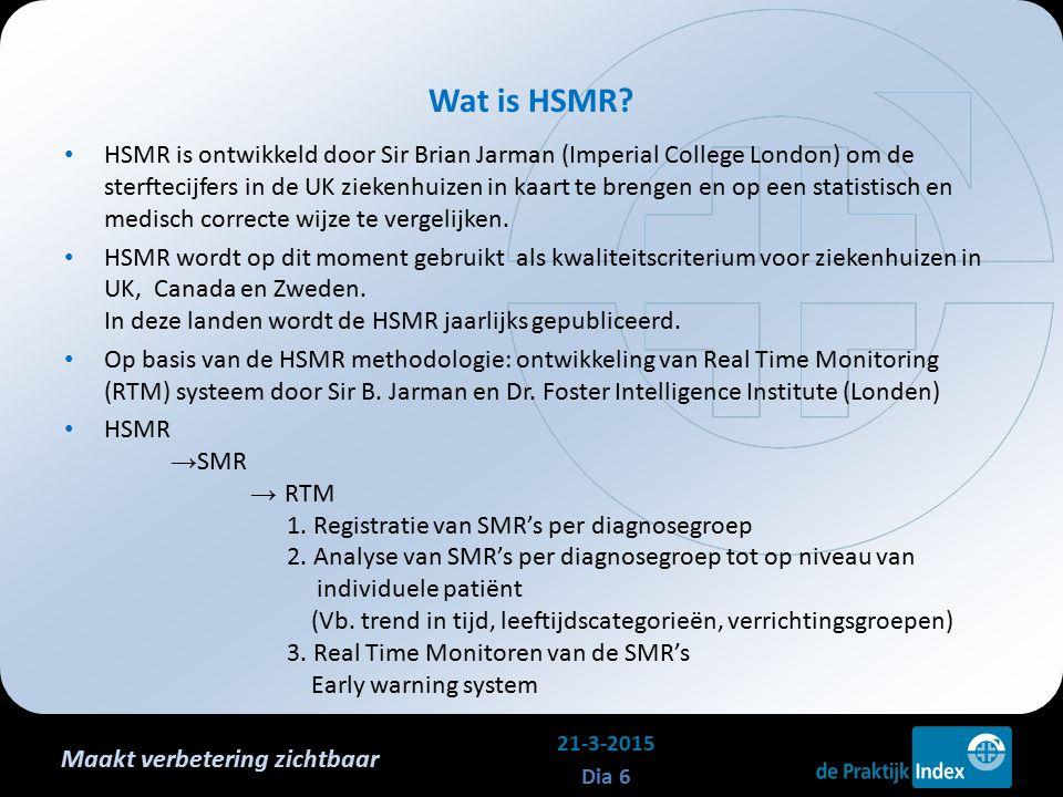 Maakt verbetering zichtbaar HSMR is ontwikkeld door Sir Brian Jarman (Imperial College London) om de sterftecijfers in de UK ziekenhuizen in kaart te brengen en op een statistisch en medisch correcte wijze te vergelijken.