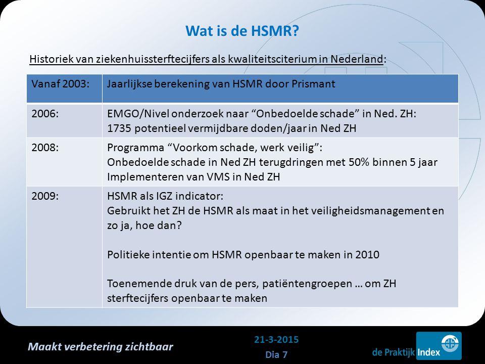 Maakt verbetering zichtbaar Historiek van ziekenhuissterftecijfers als kwaliteitsciterium in Nederland: Wat is de HSMR? 21-3-2015 Dia 7 Vanaf 2003:Jaa